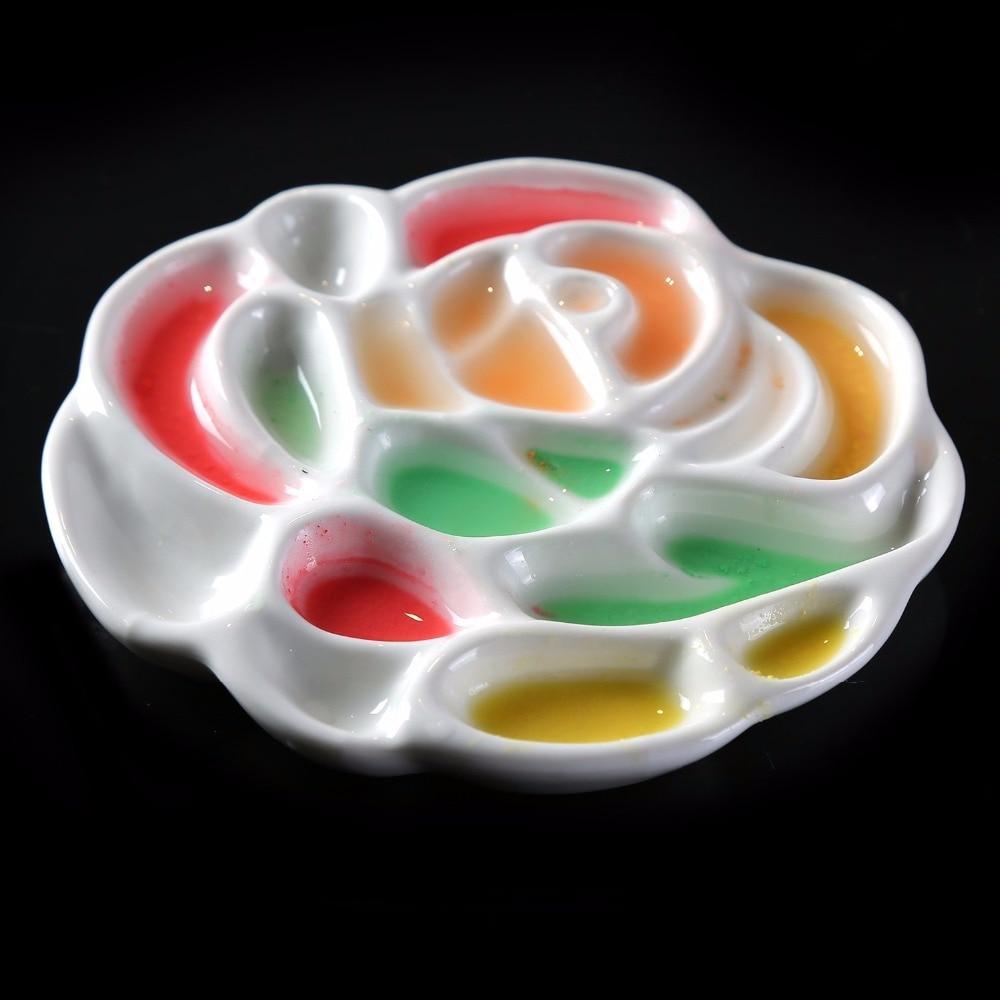 MEEDEN Plastic Paint Palette Rose Designed Tray for Watercolor Gouache Painting 8 inch in Diameter