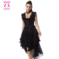 Black Floral Layered Ruffle Lace Victorian Corset Dress Gothic Swallowtail Dresses Women Steel Boned Corsets Steampunk Clothing