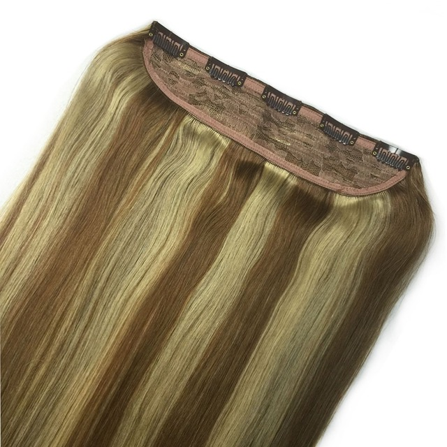 8 613 Brown Mix Blonde Free Combination Single One Piece Indian Remy Hair Clips