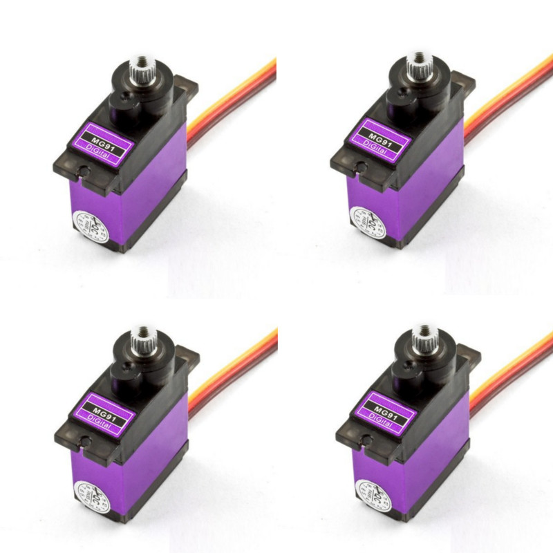 US $7.99  4PCS MG91 13g 2.6KG Torque Metal Gear Digital Servo for RC Model Drone Airplane Helicopter Car Boat Parts & Accessories     - AliExpress