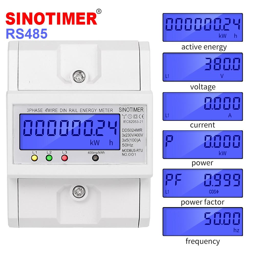 Multifonctionnel RS485 Modbus 3 Phase 4 fils wattmètre électronique consommation d'énergie compteur d'énergie 5-100A 380 V AC 50Hz rétro-éclairage
