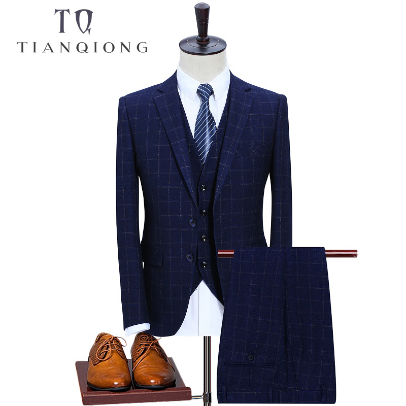 TIAN QIONG 3 Pieces Blue Plaid Slim Fit Costume Male 2018 Autumn New Fashion Casual Lattice Men Smart Casual Wedding Suits S-3XL
