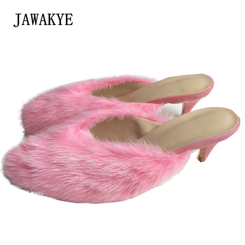 2018 Pink Fur Slippers Women Round Toe Mink hair Strange Heel Shoes Woman Fashion Sandals cx c 128c hot sale fashion women mink fur wholesale woman mink fur women hat drop shipping