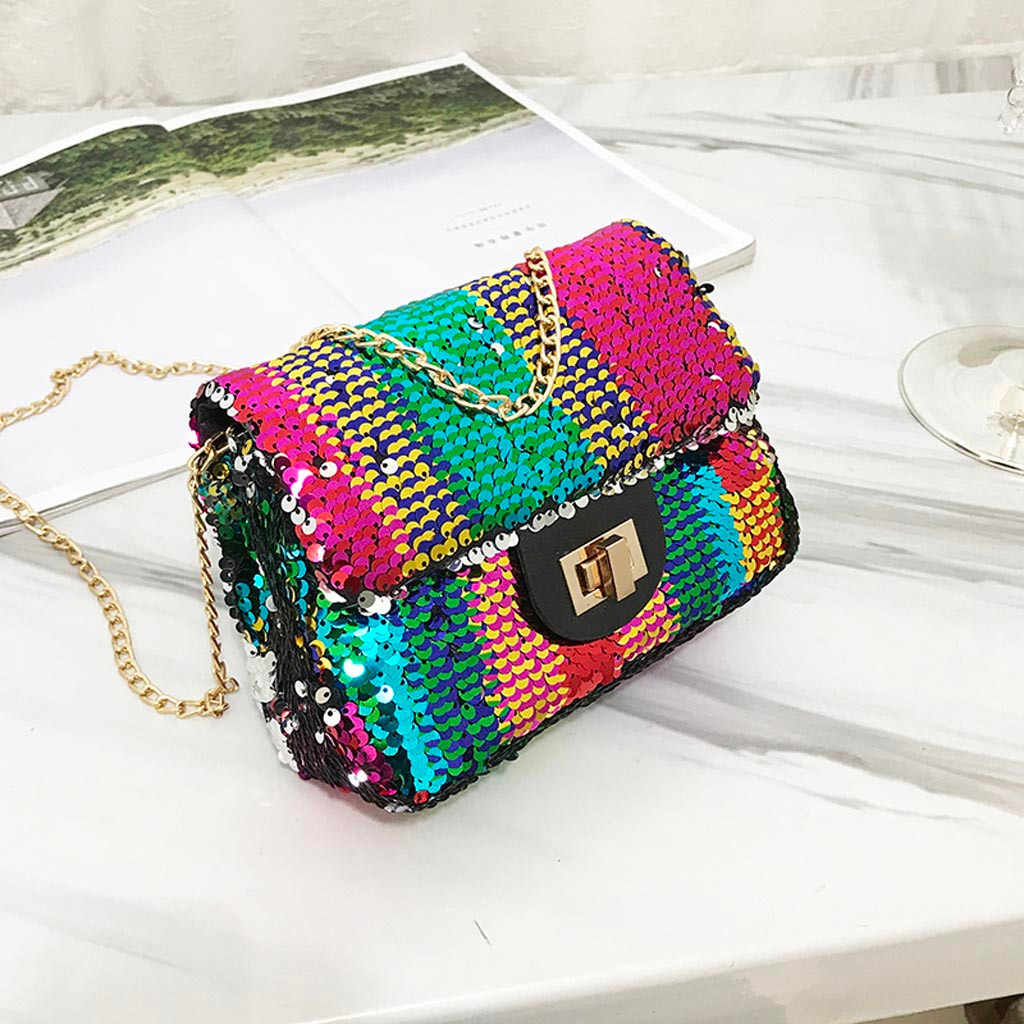 Crossbody Bags For Women Leather Women 2019 New Small Sequins Square Bag Fashion Shoulder Casual Messenger Bag sac en paille