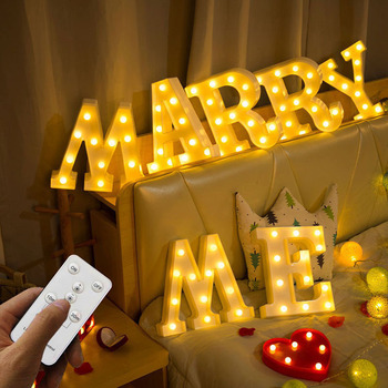 Remote Control 3D Letter LED Night Light Marquee Sign Alphabet Timer Desk Lamp Party Christmas Wedding Birthday Bar Decoration new wedding event decoration gifts white wooden letter led marquee sign alphabet light indoor wall light up night light