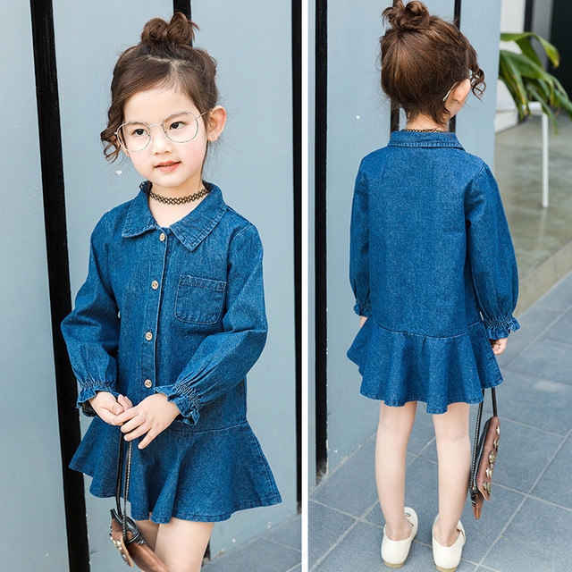 34dfee52e RUBU 2017spring autumn New arrive girls dress Kids jeans dress Children's  denim shirt dresses Baby Turn-down collar Label jeans