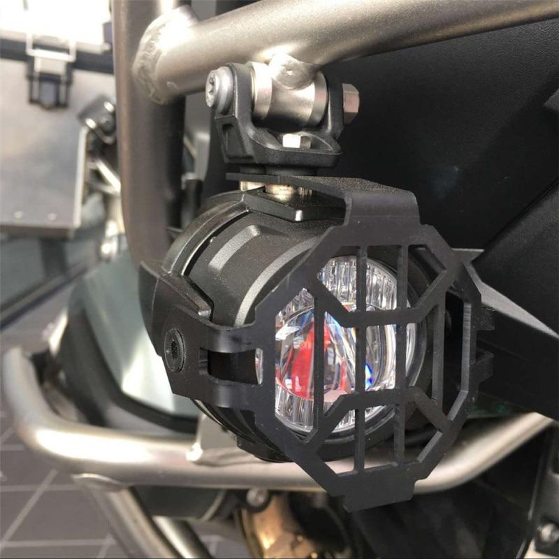 FADUIES E9 2 pièces LED Spot auxiliaire lumière de conduite + 2Psc garde de protection + 1Psc commutateur câblage pour BMW moto R1200GS F800GS - 5