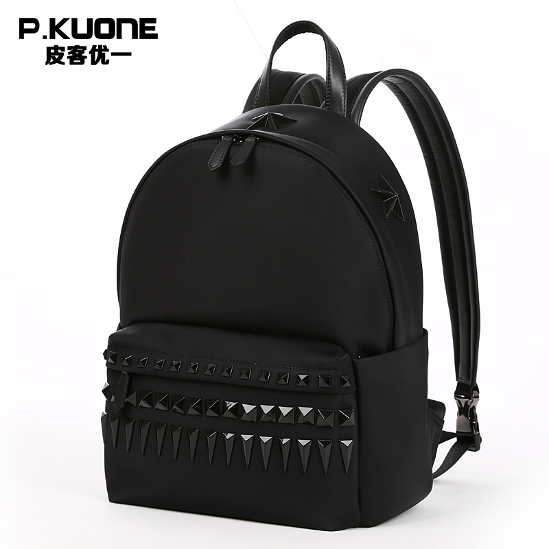 P.KUONE Brand Famous Designer Female Black Rivet Backpacks Women&Men Shoulder Bags For Teenagers Feminine Backpacks Male wireless restaurant calling system 5pcs of waiter wrist watch pager w 20pcs of table buzzer for service