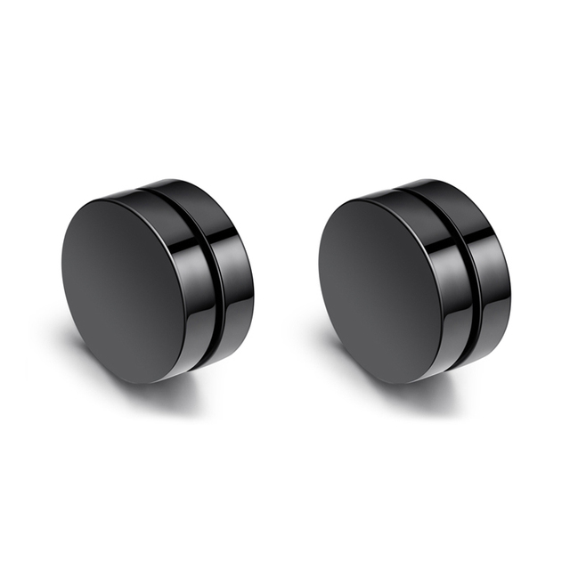 2sets Uni Many Styles Magic Anium Steel Mens Trendy Round Magnetic Clip Black Stud Magnet Earrings