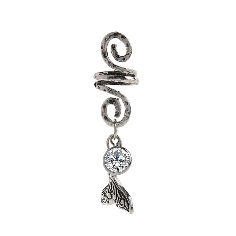1pc Viking Spiral Hair Beads with Mermaid Tail Charms for