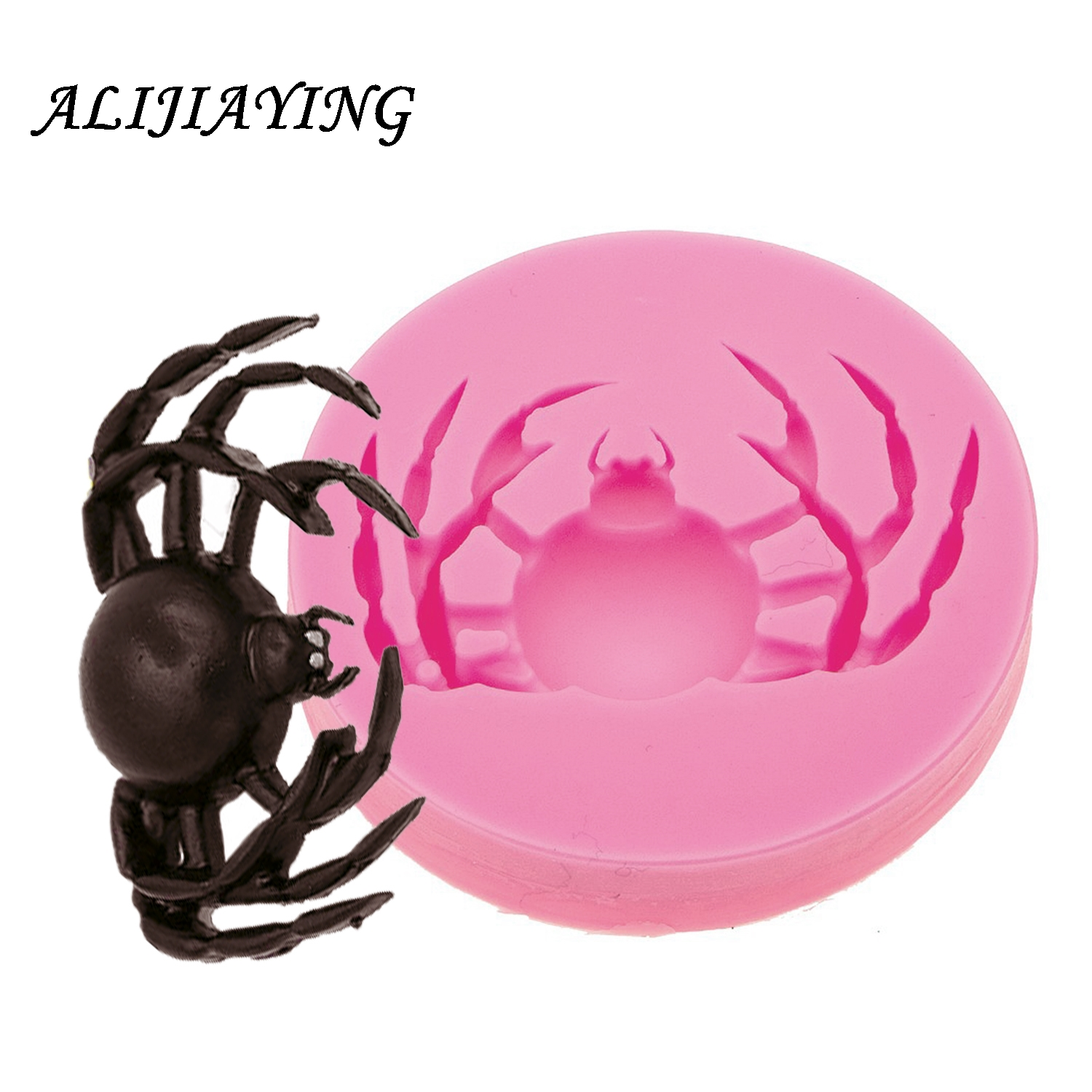 1Pcs DIY spider shape silicone Halloween cake mold chocolate biscuit fondant tools For Kitchen Accessories D0564