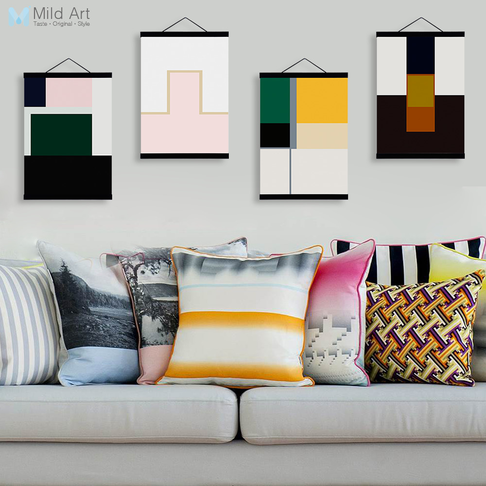 Abstract Color Geometric Shape Wooden Framed Posters Nordic Living ...