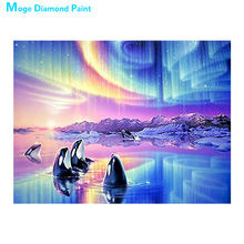 Killer whale animal Moge Diamond Painting Full Round Aurora Borealis scenic New DIY Toy sticking drill cross embroidery 5D