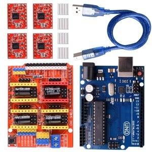 Image 1 - CNC Mở Rộng Ban V3.0 + UNO R3 Bảng + A4988 Động Cơ Bước Lái Xe Với Tản Nhiệt Cho Arduino