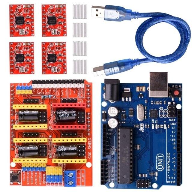 CNC Mở Rộng Ban V3.0 + UNO R3 Bảng + A4988 Động Cơ Bước Lái Xe Với Tản Nhiệt Cho Arduino