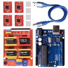 CNC Shield Expansion Board V3.0 +UNO R3 Board + A4988 Stepper Motor Driver With Heatsink For Arduino