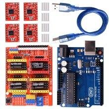 CNC חומת הרחבת לוח V3.0 + UNO R3 לוח + A4988 מנוע צעד נהג עם גוף קירור עבור Arduino