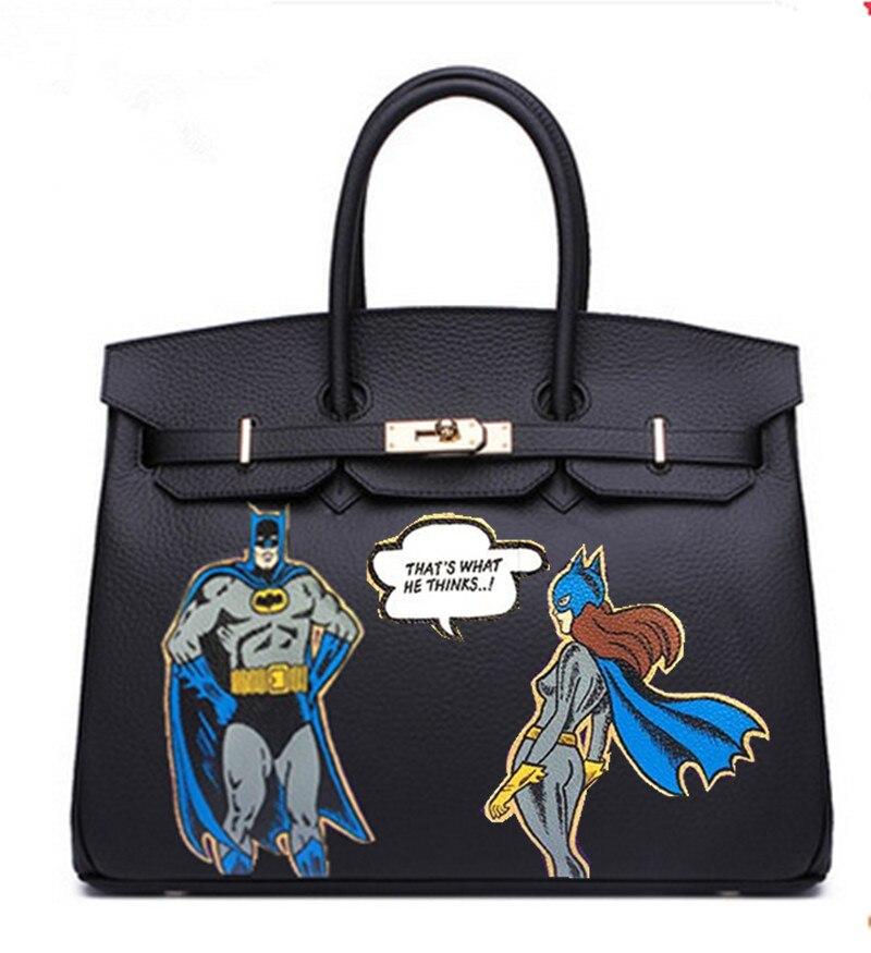 2018 роскошный дизайн мультфильм уникальные расписанную граффити картины Бэтмен Платиновый Сумка Натуральная кожа 35 см золотистой фурнитур
