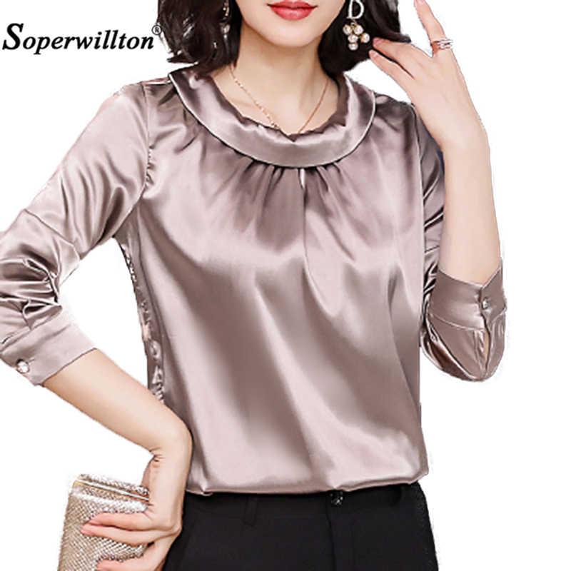 Women's shirts Blouses 2020 Tops long sleeve formal chiffon blouse women  Shirts silk tops tees satin Blouse Blusa 3XL Plus Size Blouses & Shirts  -  AliExpress