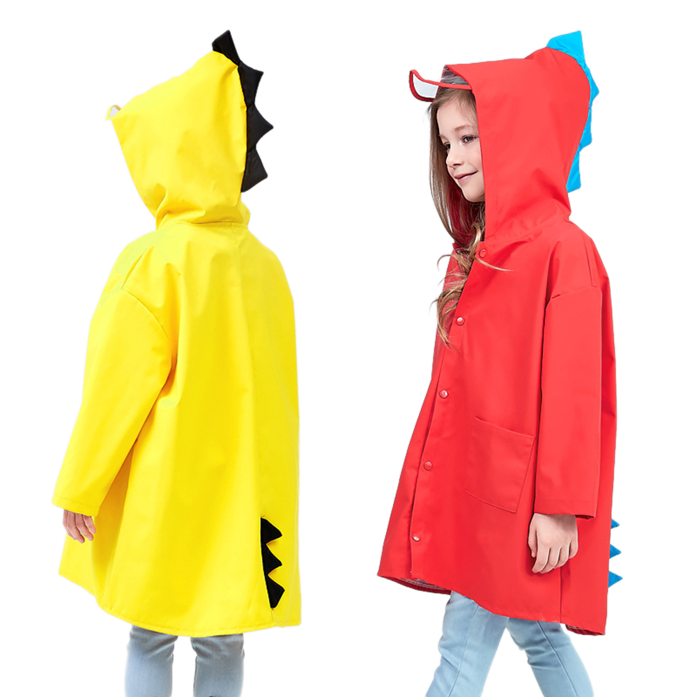 1PC Funny Cute Small Dinosaur Polyester Baby Rain Coat Outdoor Waterproof Raincoat Children Windproof Poncho Boys Girls Rainwear