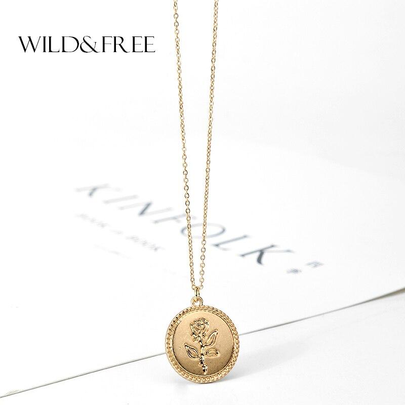 Wild & משלוח זהב סגסוגת עגול תליון שרשרת לנשים פשוט נשי ארוך שרשרת מטבע שרשרת רוז פרח קולייר 2018 סיטונאי
