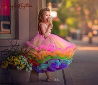 Pretty rainbow cupcake flower girl dress toddler glitz pageant gown ruffles puffy infant 1st birthday kids party prom outfits