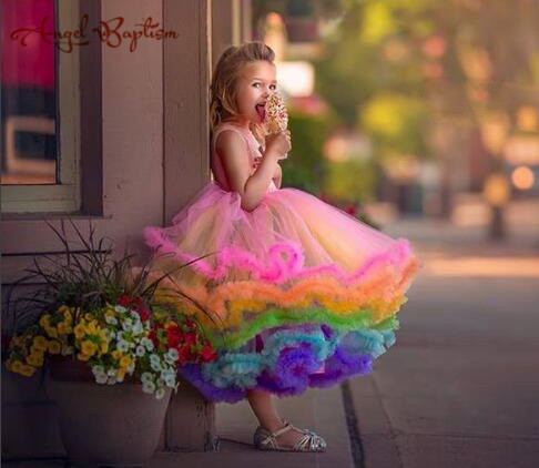 Pretty rainbow cupcake flower girl dress toddler glitz pageant gown ruffles puffy infant 1st birthday kids party prom outfits ободки pretty mania ободок
