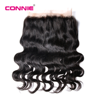 Connie Brazilian Body Wave 360 Lace Frontal Closure Free Part 22.5*4*2 With Baby Hair Ntural Black Non Remy Human Hair Bundles