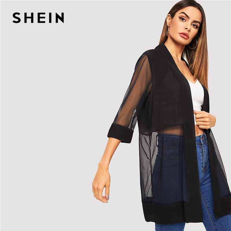SHEIN Black Open Front Solid Sheer Mesh Coat Spring Women Casual   Basic   Three Quarter Length Sleeve Outerwear Long Coat