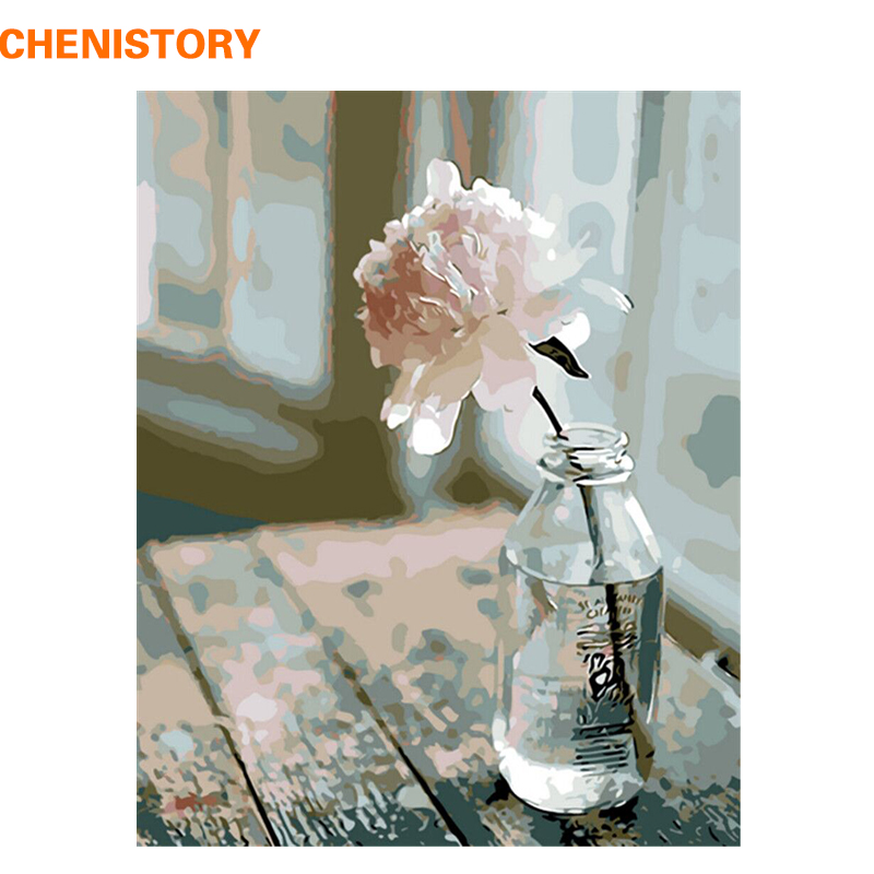 CHENISTORY No Frame White Flowers DIY Painting By Numbers Modern Wall Art Picture Home Wall Decor For Living Room Artwork 40x50