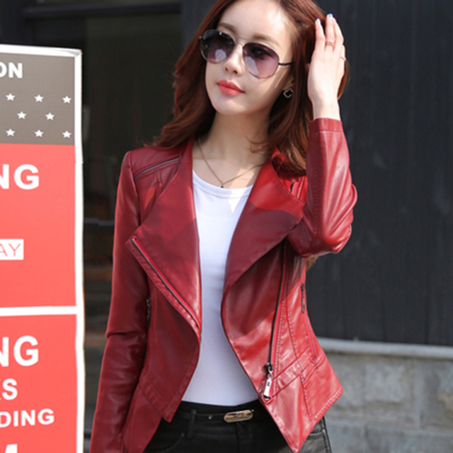 2016 spring and autumn leather jacket women motorcycle short jacket small leather clothing outerwear female slim leather coat