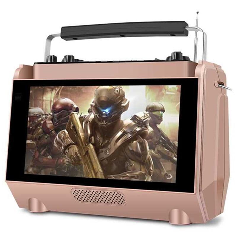 С дисплеем беспроводной HD видео плеер спикер MP4 игрока на открытом воздухе дома караоке портативный fm радио bluetooth динамик карта KTV MP3