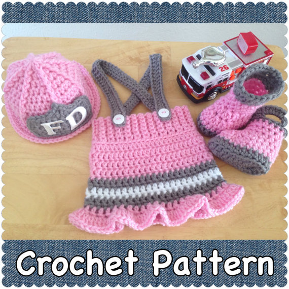 Crochet Firefighters Baby Sweater Set Baby Hat Skirt And Boots