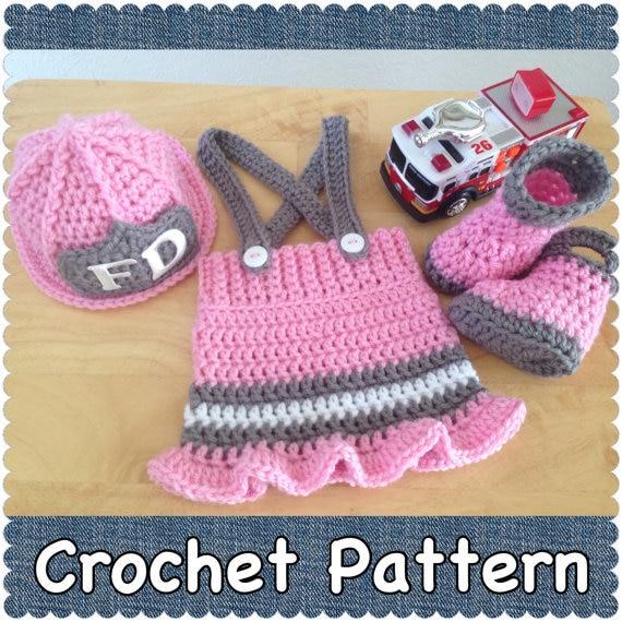 Crochet bomberos set suéter del bebé, bebé sombrero y falda y botas ...