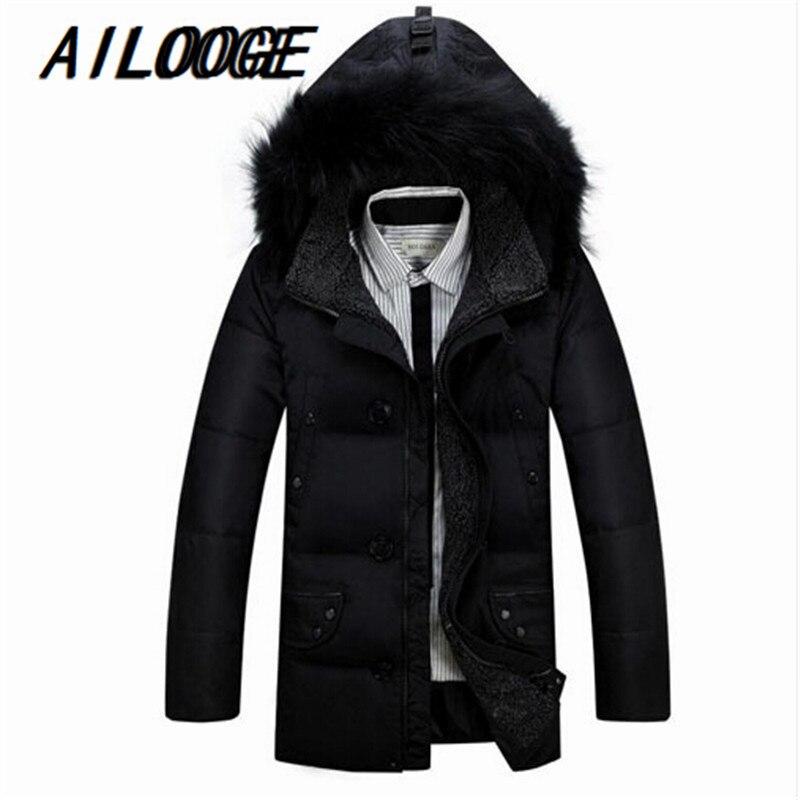 AILOOGE 2017 New Fashion Winter Medium-long Jacket Men White Duck   Down   Jackets Parkas Warm Faux Fur Hood   Down     Coat