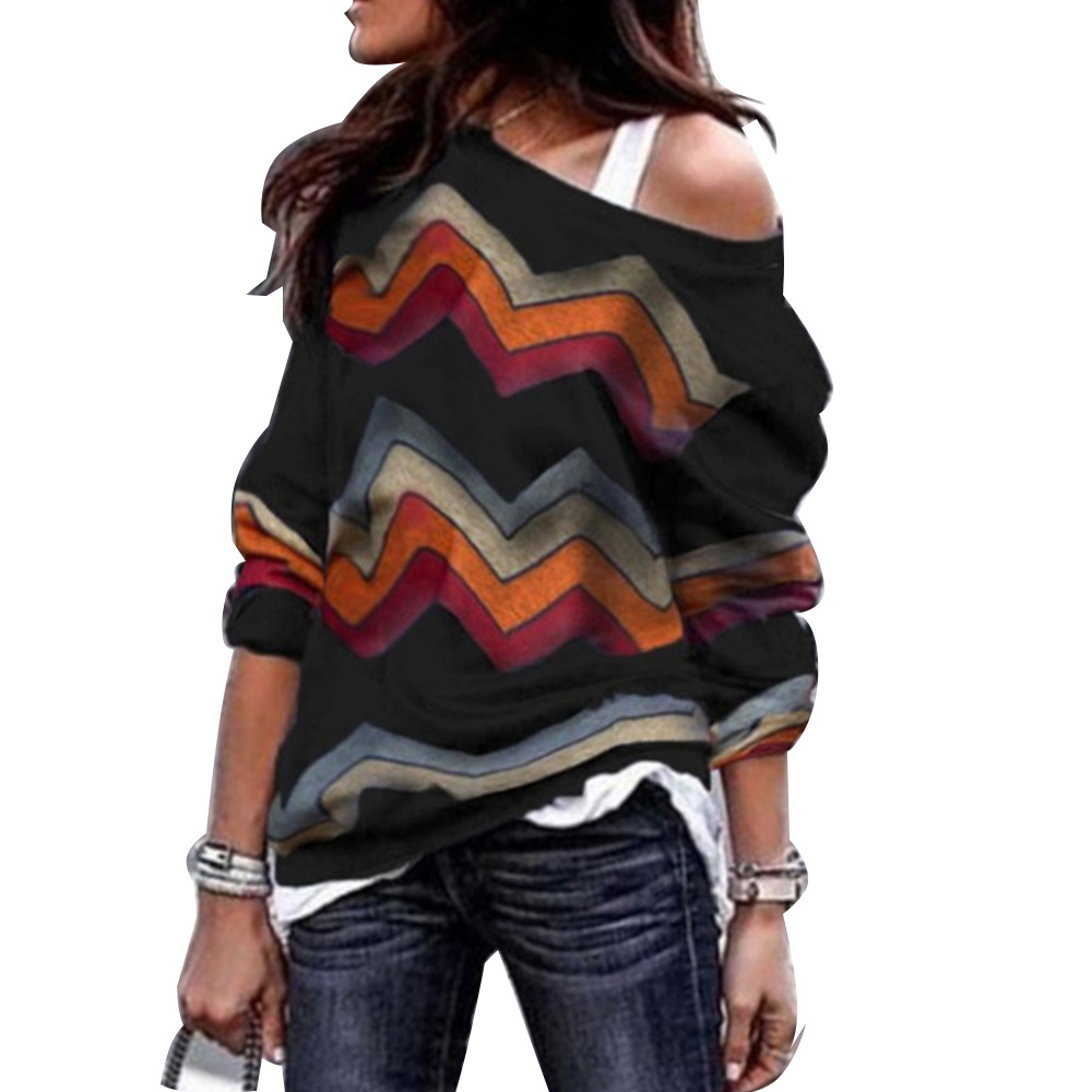 Spring Autumn T-Shirts Women Sexy Off Shoulder Striped Tops Leisure Long Sleeve Geometric Printing Knitted T Shirt Plus Size 3XL