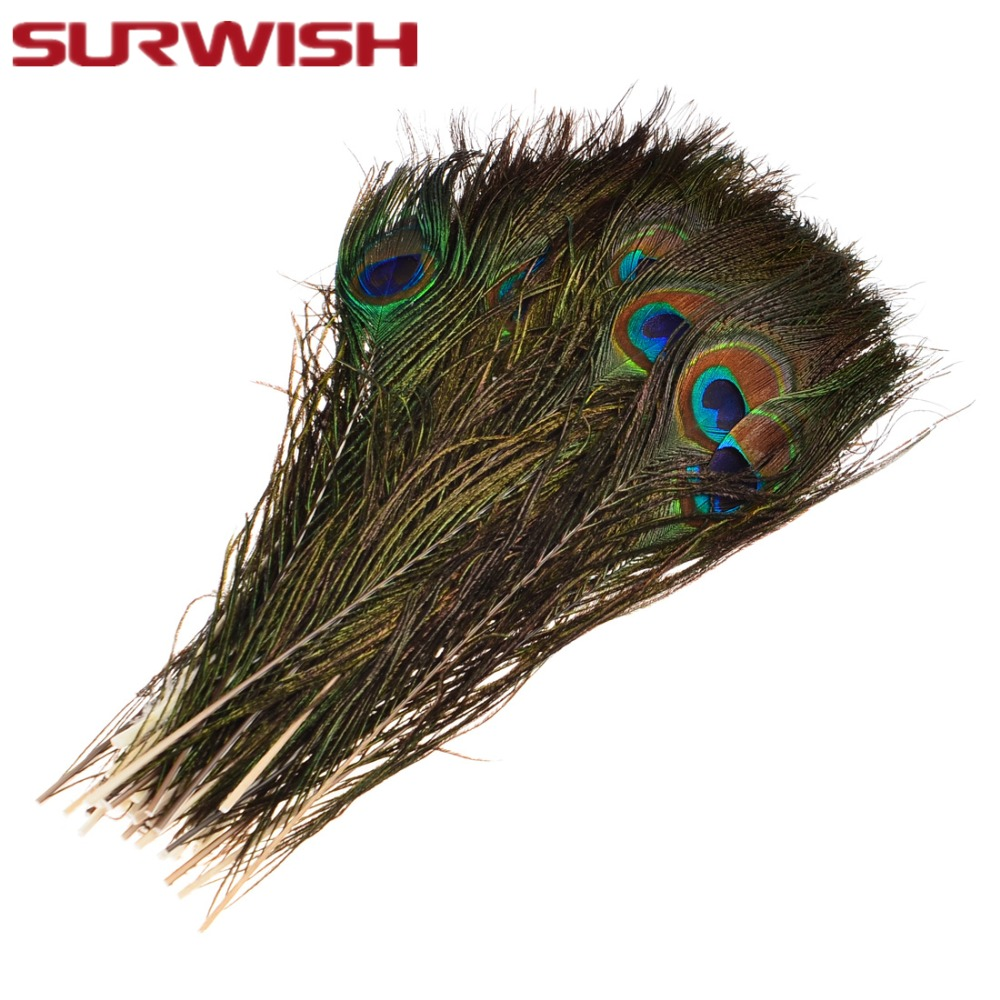 SURWISH 50Pcs Peacock Feathers 30cm Real Natural Peacock
