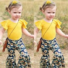 bafc91c66bf (Ship from US) children Clothes Set 2pcs Kids Baby Girls Top Fly Sleeve T  Shirt Sunflower Print Flared Pants Summer Cotton Girl Toddler Outfits
