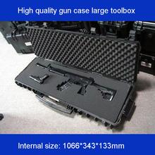 long Tool case gun large toolbox Impact resistant sealed waterproof equipment  camera with pre-cut foam