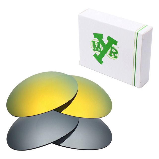 2 Pairs MRY POLARIZED Replacement Lenses for Oakley Romeo 1 Sunglasses Silver Titanium & 24K Gold