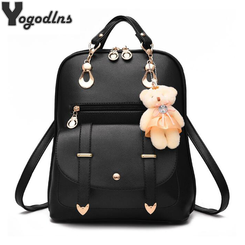 Preppy Style Women Backpack Bear Toys PU Leather Schoolbags for Teenage Girls Female Rucksack Shoulder Bag Travel Knapsack bolish pu leather women female backpack preppy style girls school bag larger size travel rucksack black color ladies daypack