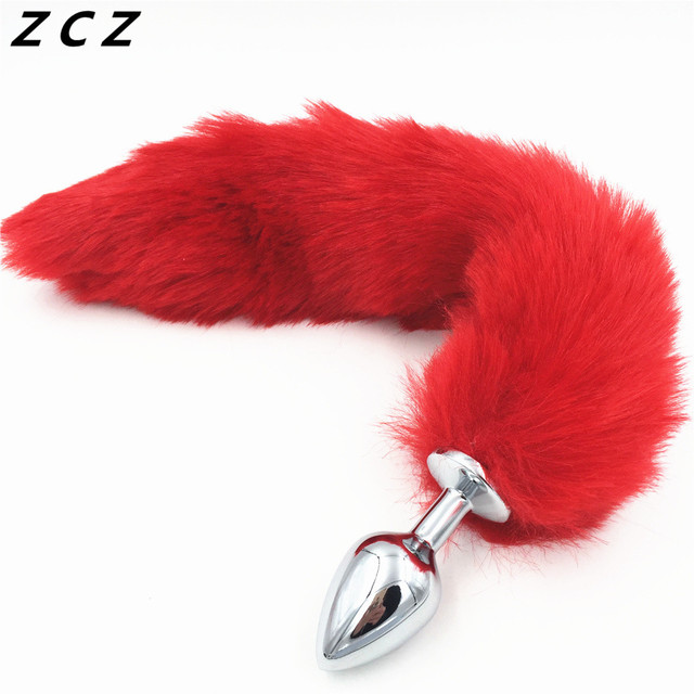 81323fac60f ZCZ Medium Red Fox Tail Stainless steel Anal Plug