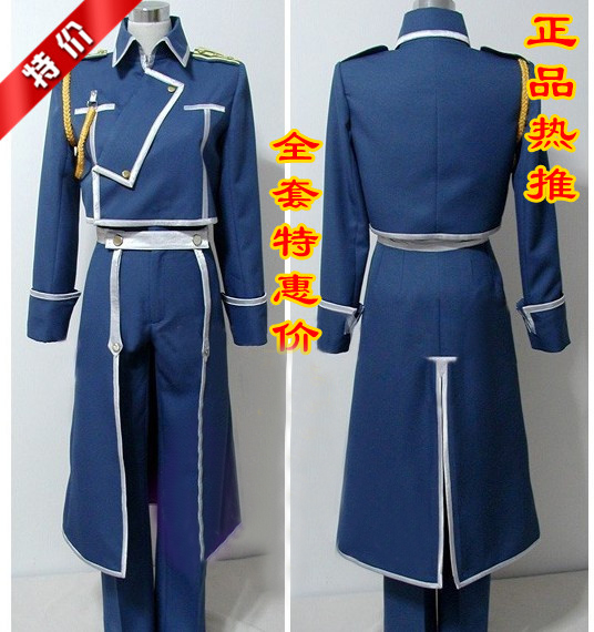 Hot Anime Fullmetal Alchemist Roy Mustang Army Uniform Full Set Cosplay Costume S-XXL