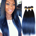 Peruvian Straight Hair blue ends human hair weave 3pcs remy hair blue ombre weave bundles 2 tone blue weft HANNE Colorful Hair