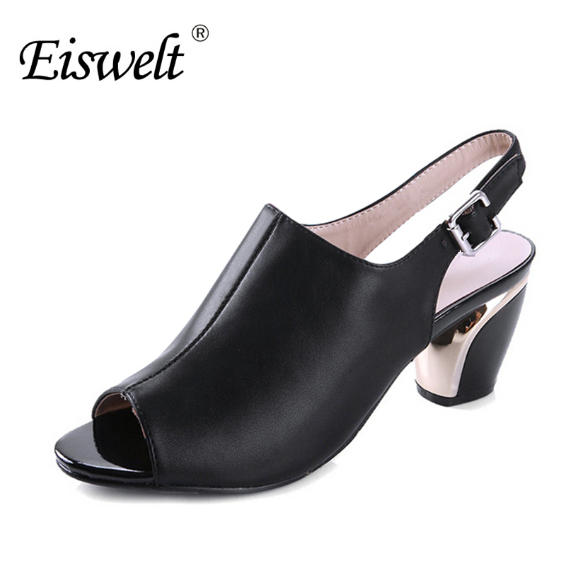 EISWELT Fashion Women Summer Sandals Fish Mouth Shoes Woman Square Heel Pumps#EZJF24 xiaying smile summer woman sandals square cover heel woman pumps buckle strap fashion casual flower flock student women shoes