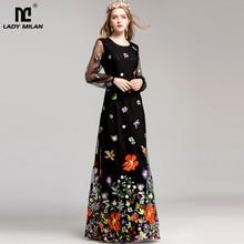 Neue Ankunft 2020 frauen O Neck Long Sleeves Luxus Floral Stickerei Elegante Maxi Prom Runway Kleider