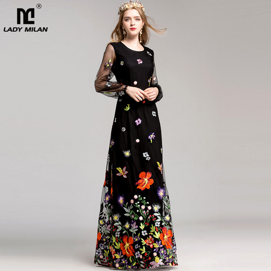 New Arrival 2018 Women s O Neck Long Sleeves Luxury Floral Embroidery Elegant Maxi Prom Runway