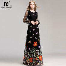 New Arrival 2020 Womens O Neck Long Sleeves Luxury Floral Embroidery Elegant Maxi Prom Runway Dresses