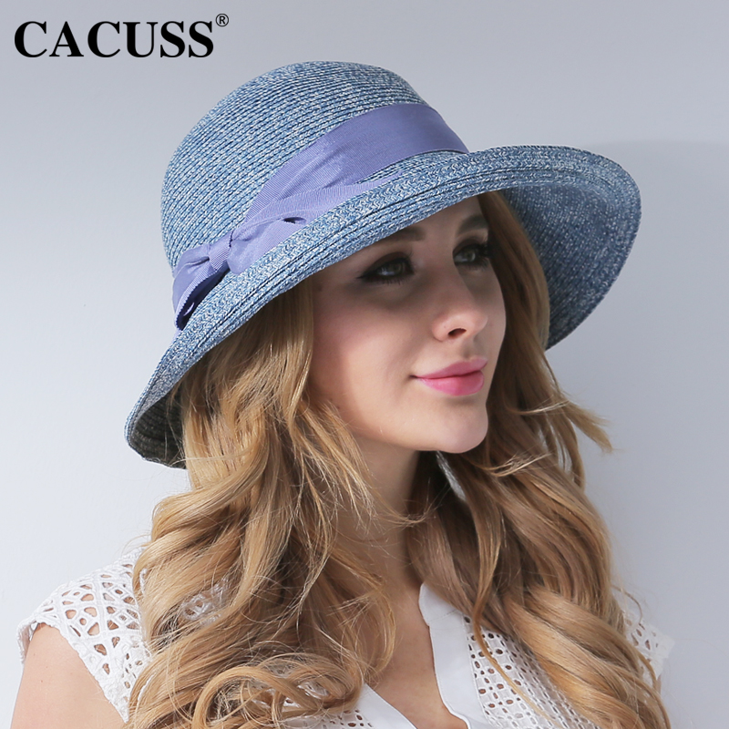 CACUSS Summer Beach Hats Women Handmade Straw Caps Wide Brim Bucket Cap Bow  Bone For Elegant Ladies 2017 Hot Sale -in Sun Hats from Apparel Accessories  on ... 914cc9562148