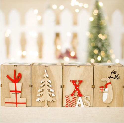 Christmas Tree Candle Holder.Us 1 41 40 Off Candle Holders Christmas Wood Candle Holder Candlestick Table Lamp For Tea Light Decoration New Christmas Ornaments In Candle Holders